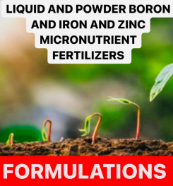 LIQUID AND POWDER BORON AND IRON AND ZINC MICRONUTRIENT FERTILIZERS FORMULATIONS AND PRODUCTION PROCESS