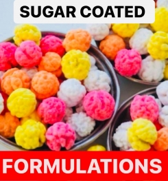 SUGAR COATED PRODUCTS FORMULATIONS AND PRODUCTION PROCESS